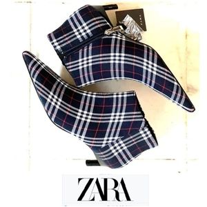 Stylish Zara Plaid Kitten Heel Booties